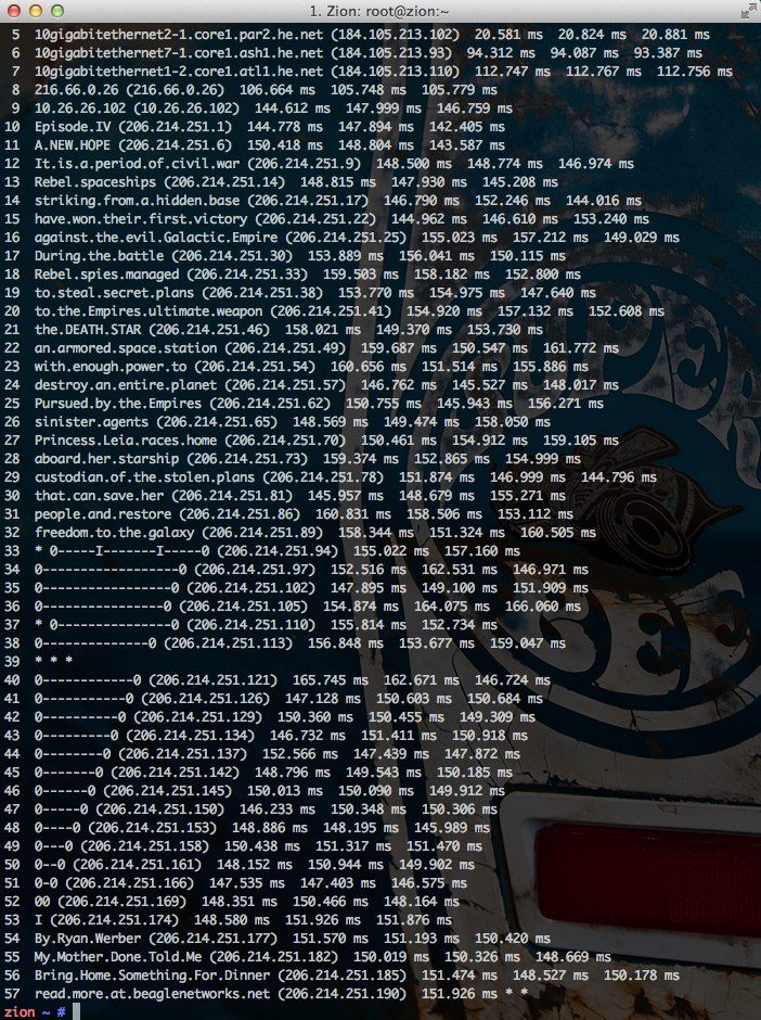 traceroute to Star Wars